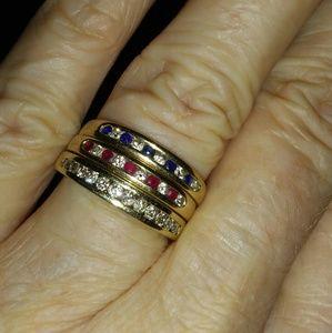 Jewelry - Vintage 14k Diamond Ruby Sapphire Stacking Rings